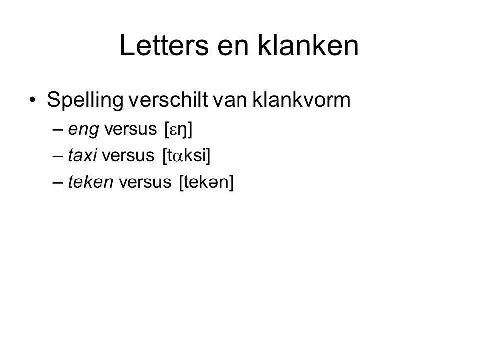 Letters en klanken Spelling verschilt van klankvorm eng versus [ŋ]